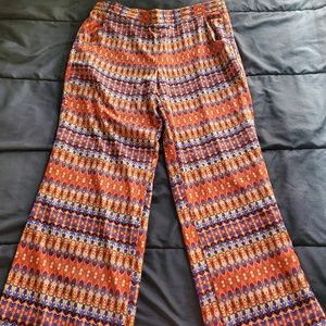 women XL gaucho pants, orange brown blue